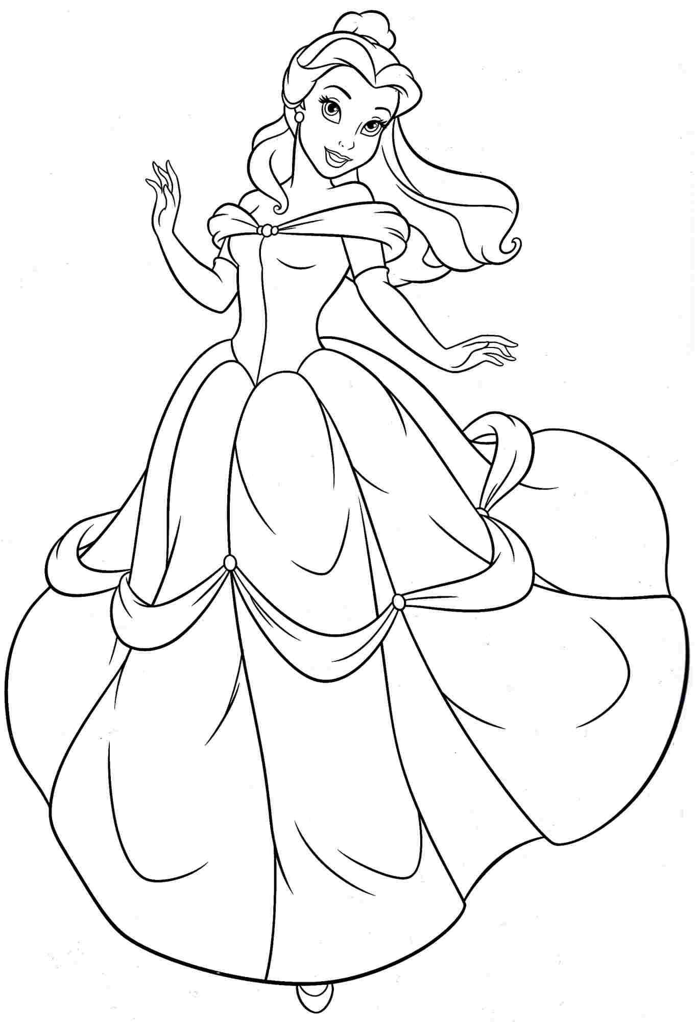 Princess belle coloring pages to