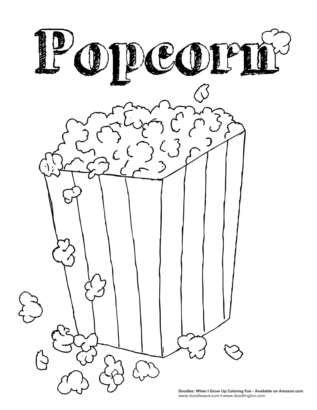 Popcorn box coloring page sketch coloring page for Popcorn kernel coloring page