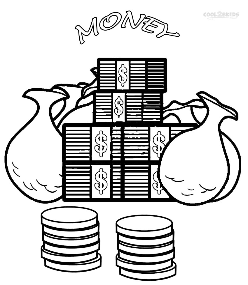 Money coloring pages to download