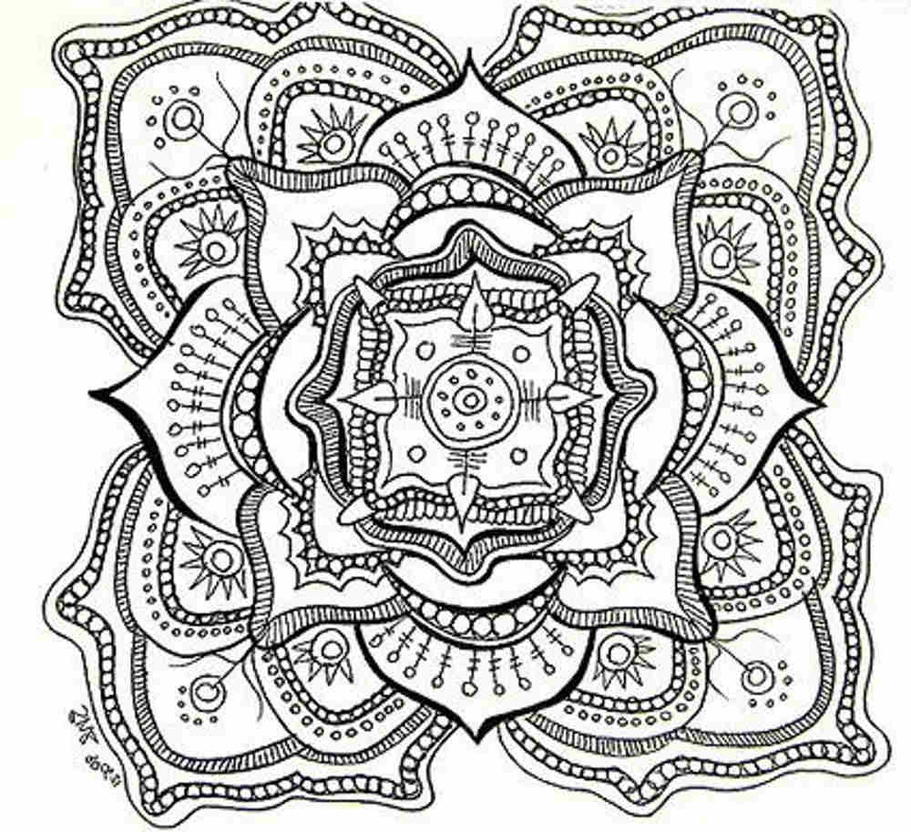 Difficult coloring pages for adults to download and print for Coloring pages for adults difficult flower