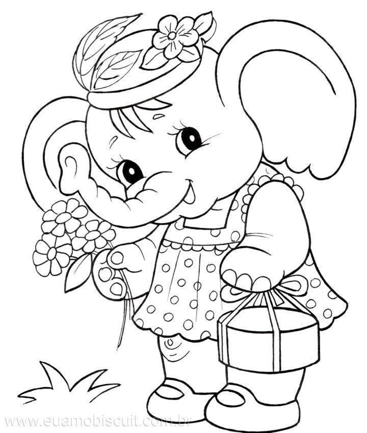 baby elephant coloring pages print - photo#4