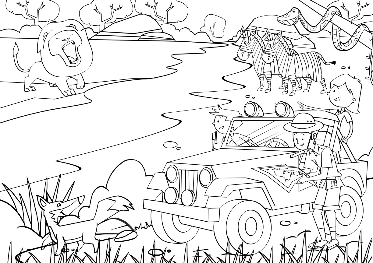 Jungle safari coloring pages download