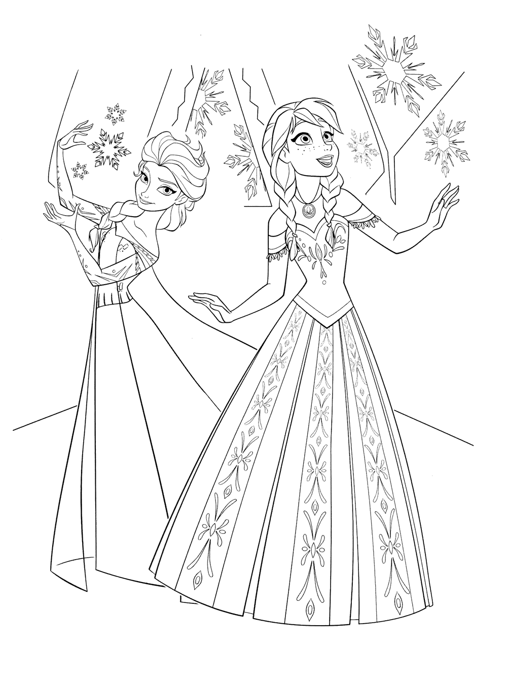 Elsa and Anna coloring pages to download and print for free