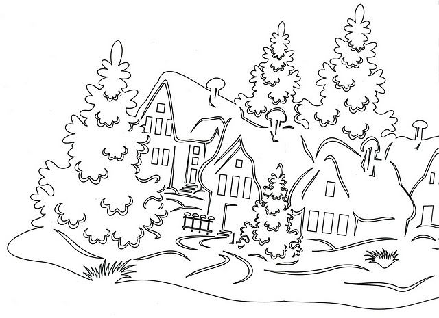 Winter landscape coloring pages