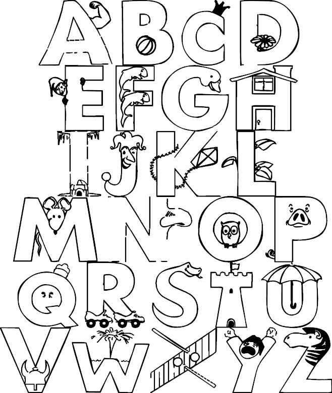 alphabet coloring pages download - photo#7