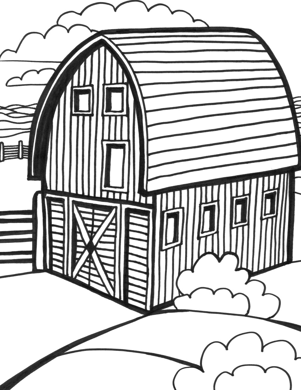 It is a graphic of Adaptable Barn Coloring Sheet