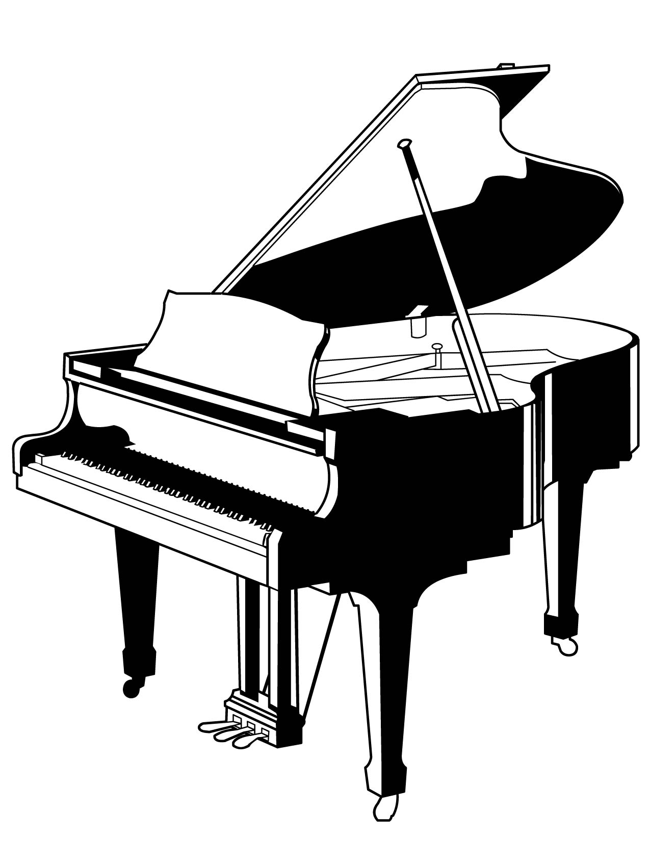 Piano coloring pages to download
