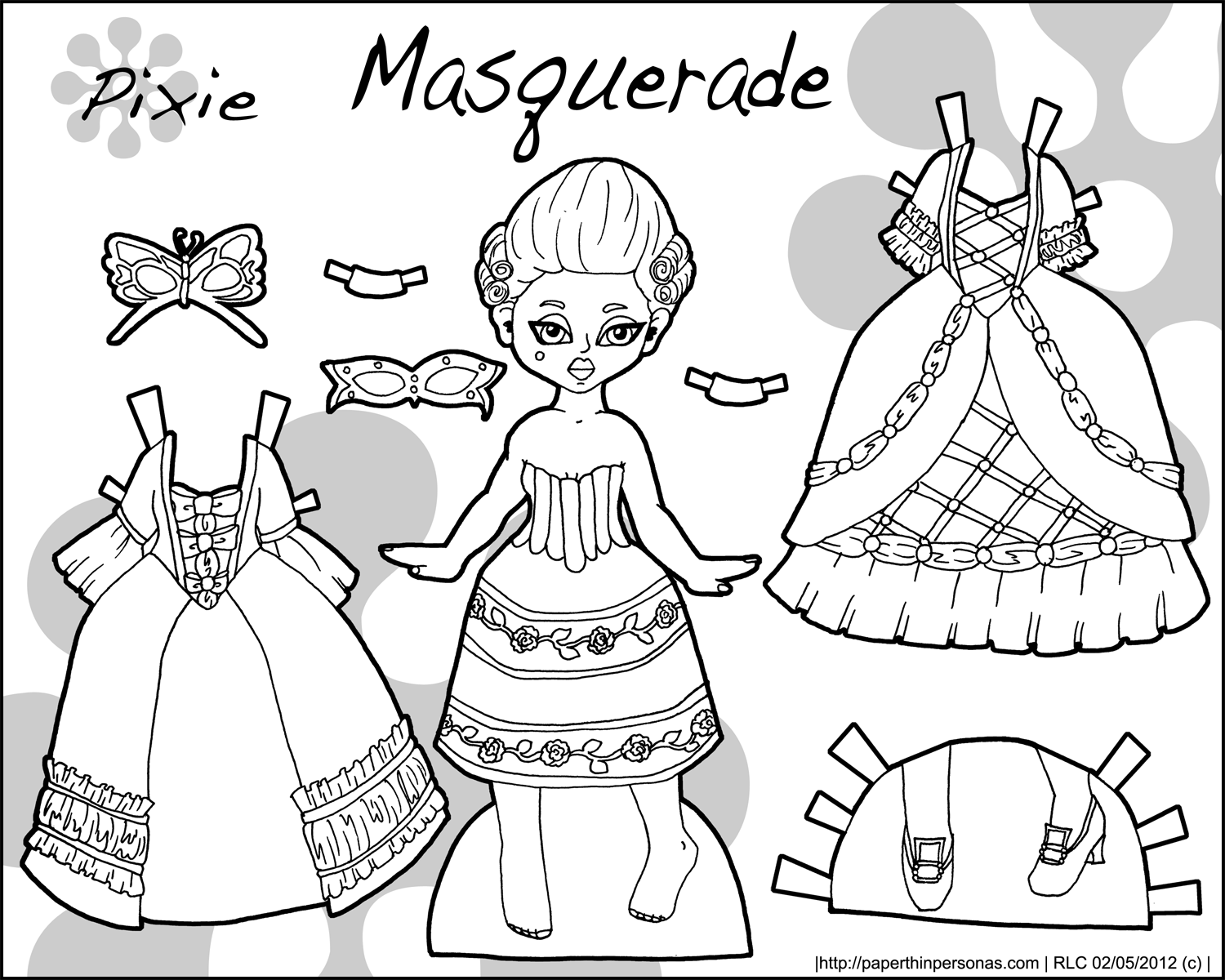 Paper Doll Coloring Pages