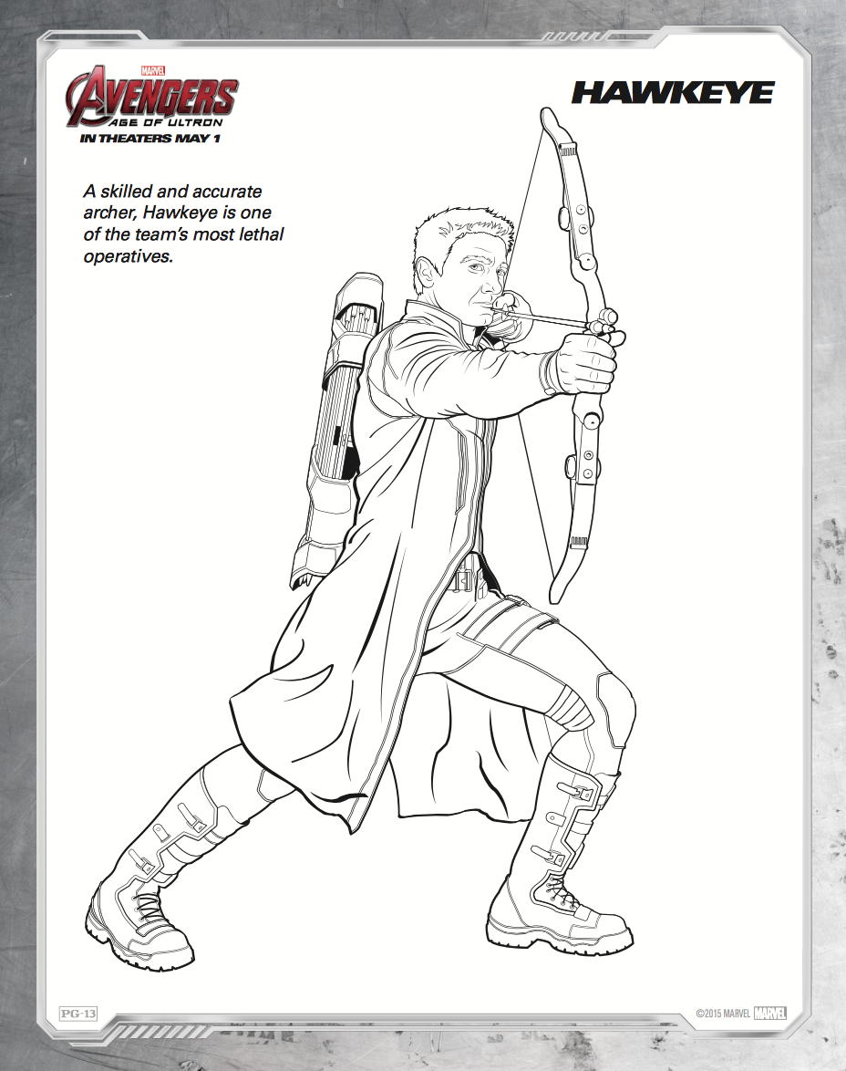 Hawkeye coloring pages to download