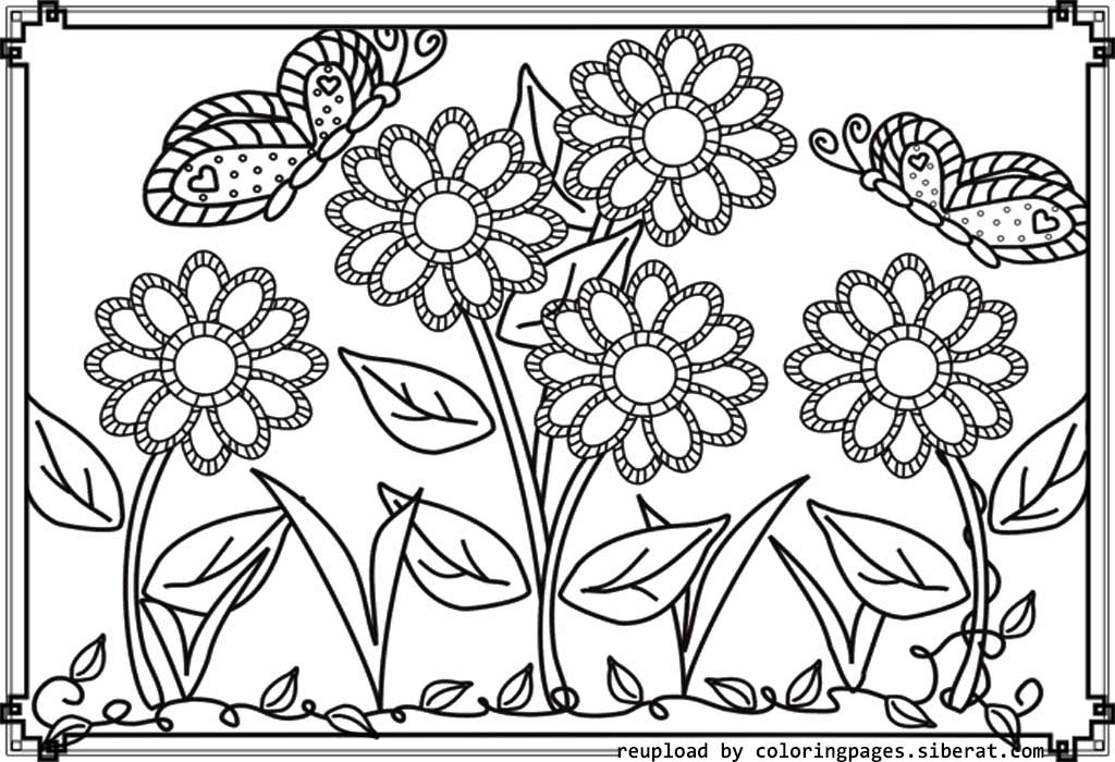 Flower garden coloring pages to download and print for free for Flower garden coloring pages printable
