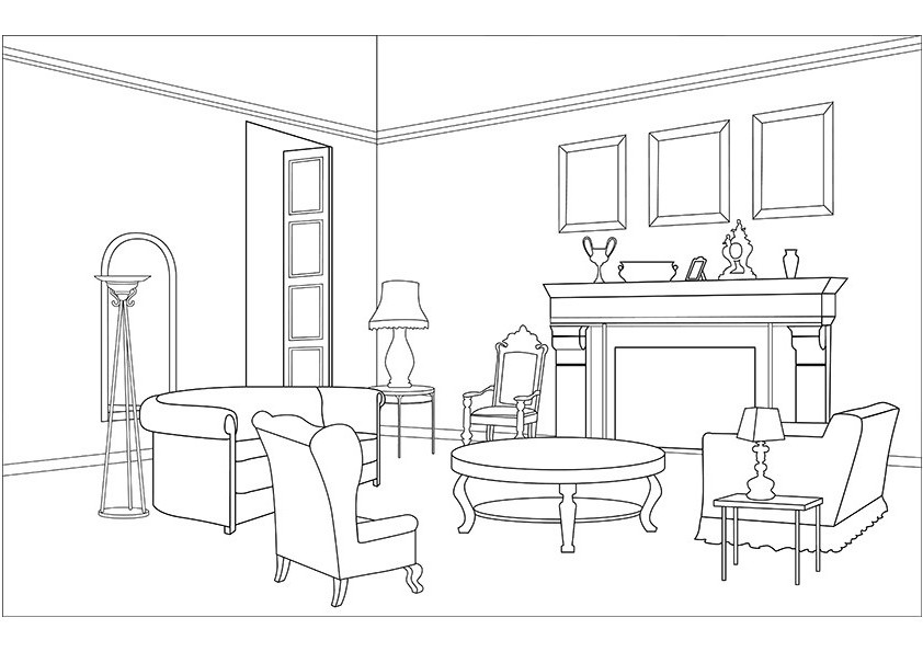 Living room coloring pages download and print for free for Online drawing room