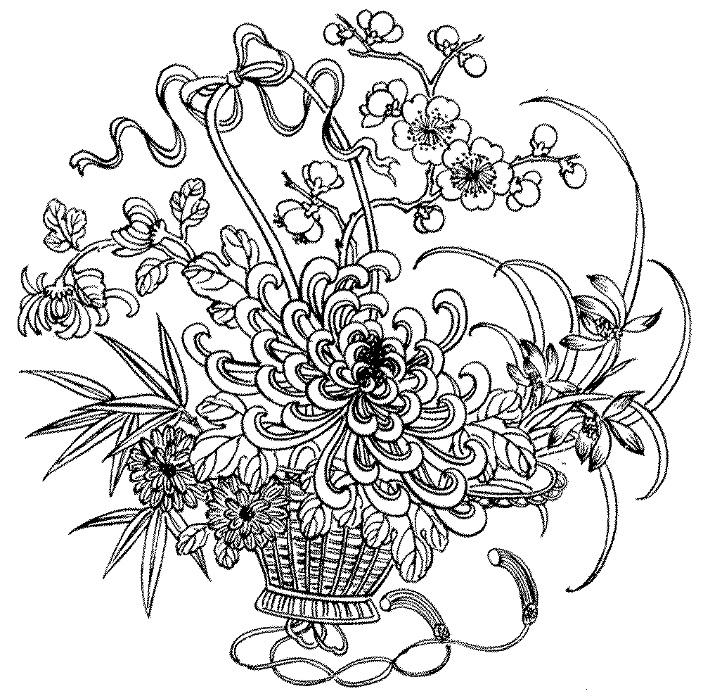 Adult coloring pages flowers to download and print for free for Flower adult coloring pages