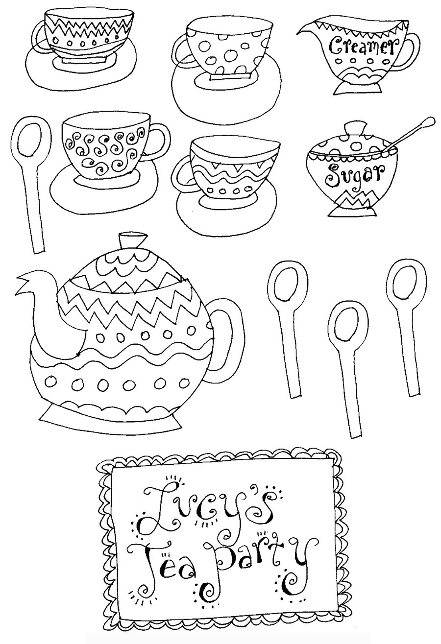 tea party coloring pages free - photo#19