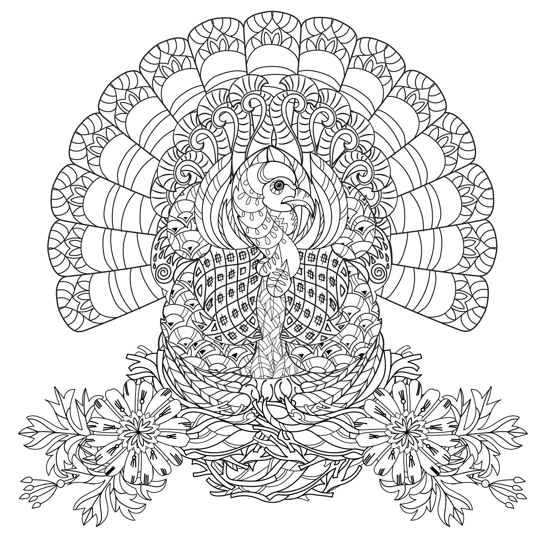 Thanksgiving coloring pages for adults to download and Coloring book for adults free download
