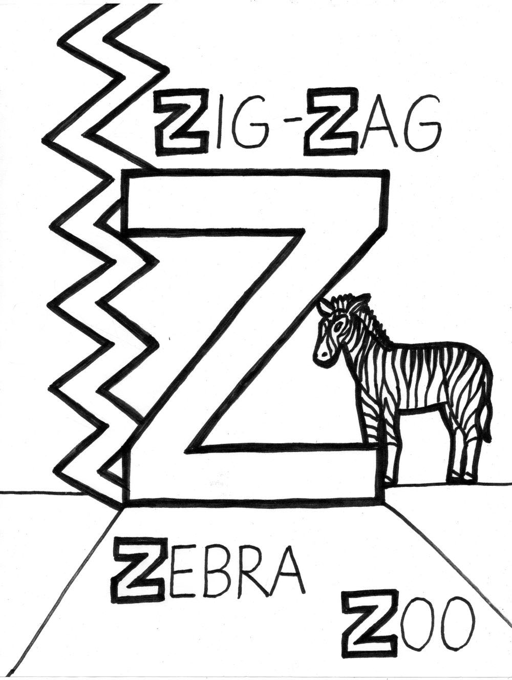 Letter z coloring pages to download