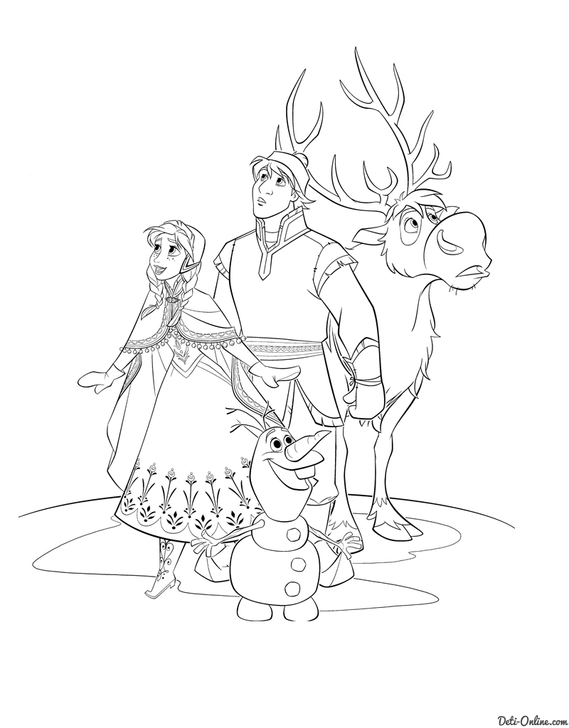 frozen cartoon characters coloring pages - photo#40