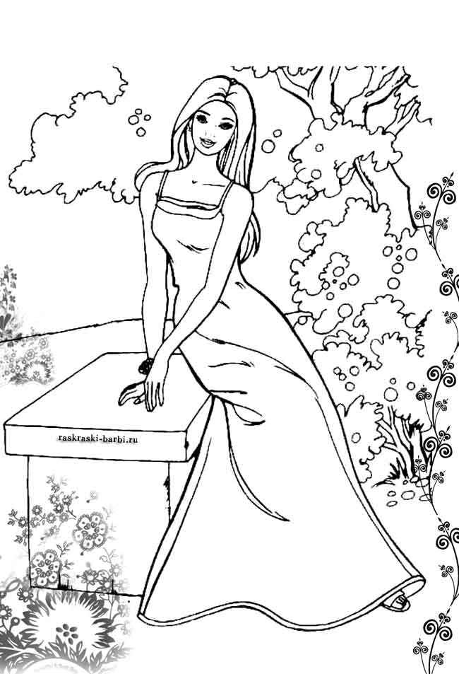 Barbie coloring pages to print for free; mermaid, princess ...