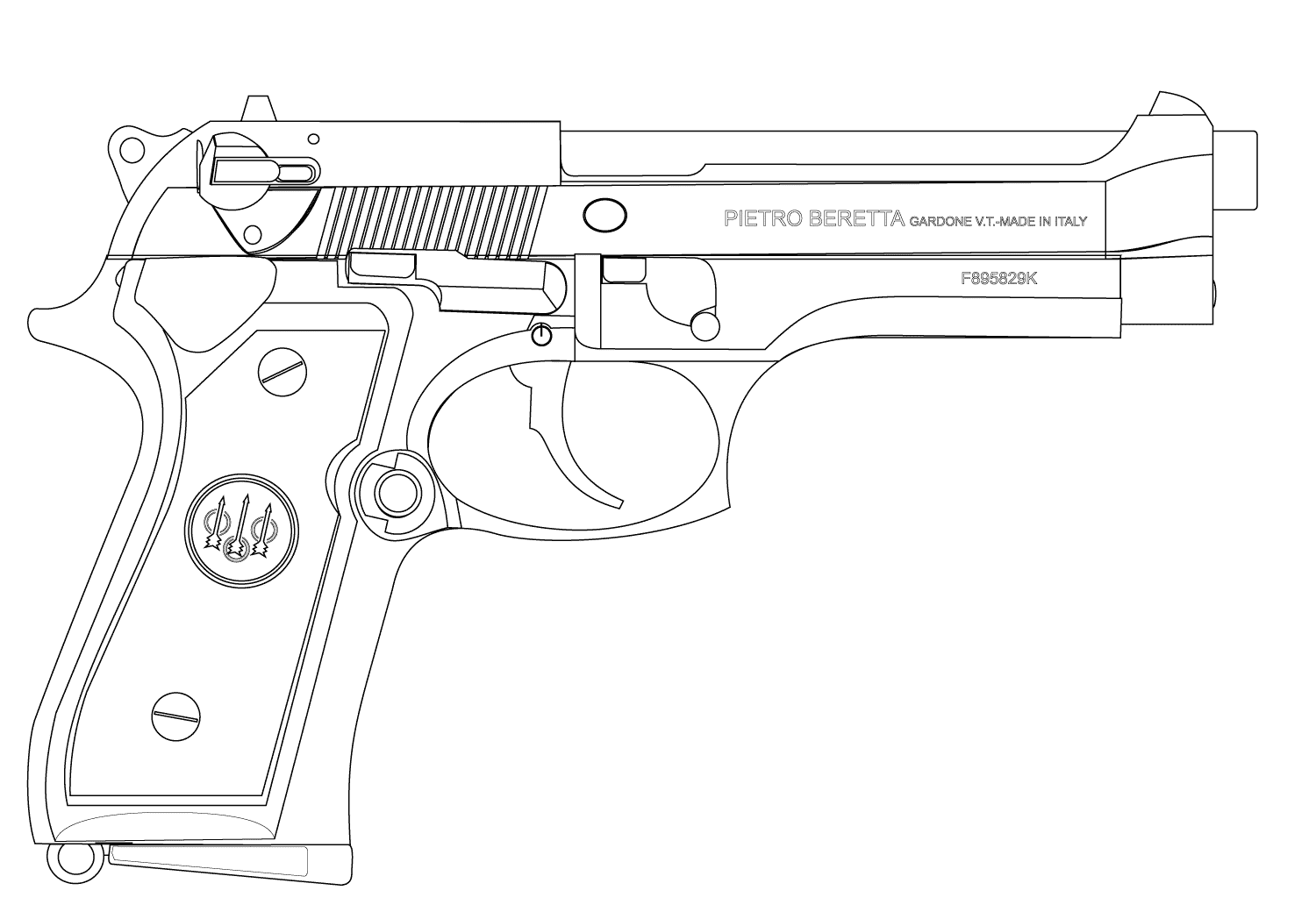 Pistol coloring pages to download and print for free - Dessin pistolet ...