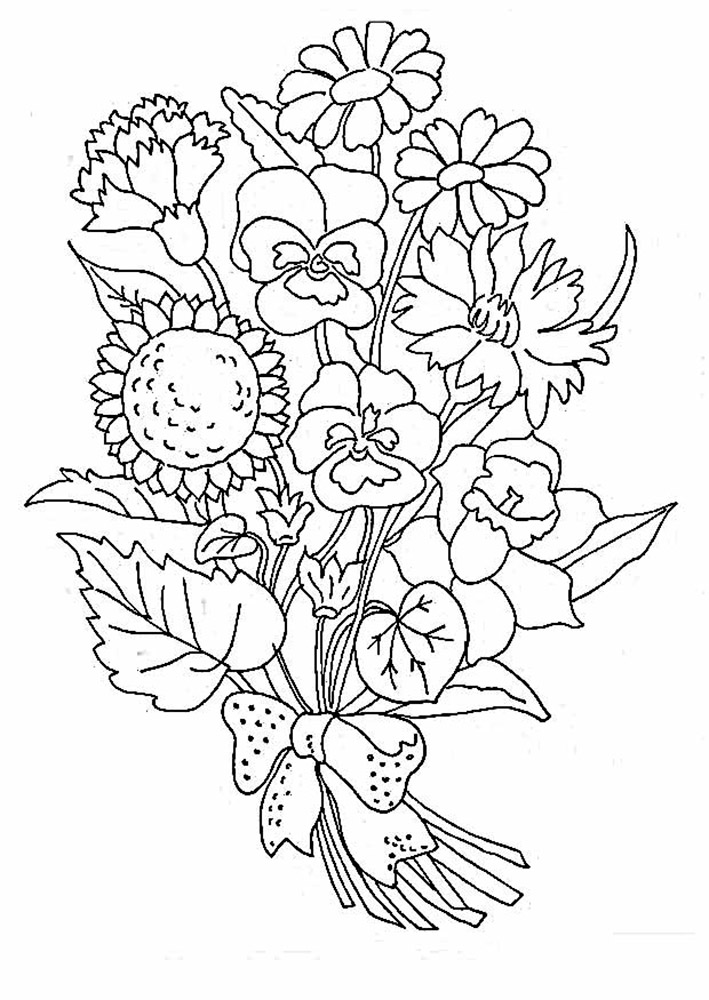 Bouquet of flowers coloring pages for childrens printable for Coloring pages of a flower