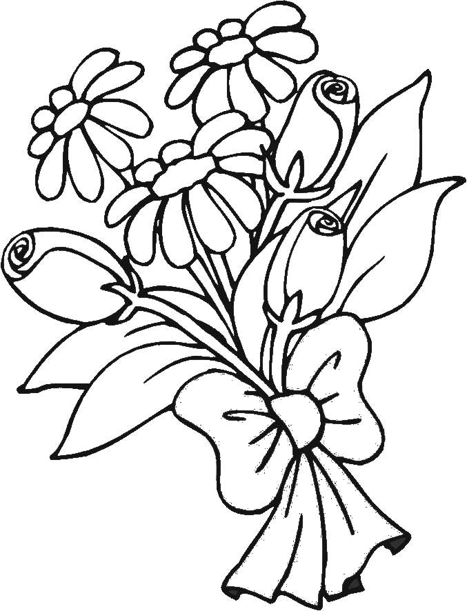 Coloring Pages Flowers Bouquet : Bouquet Of Flowers Coloring Pages for childrens printable for free