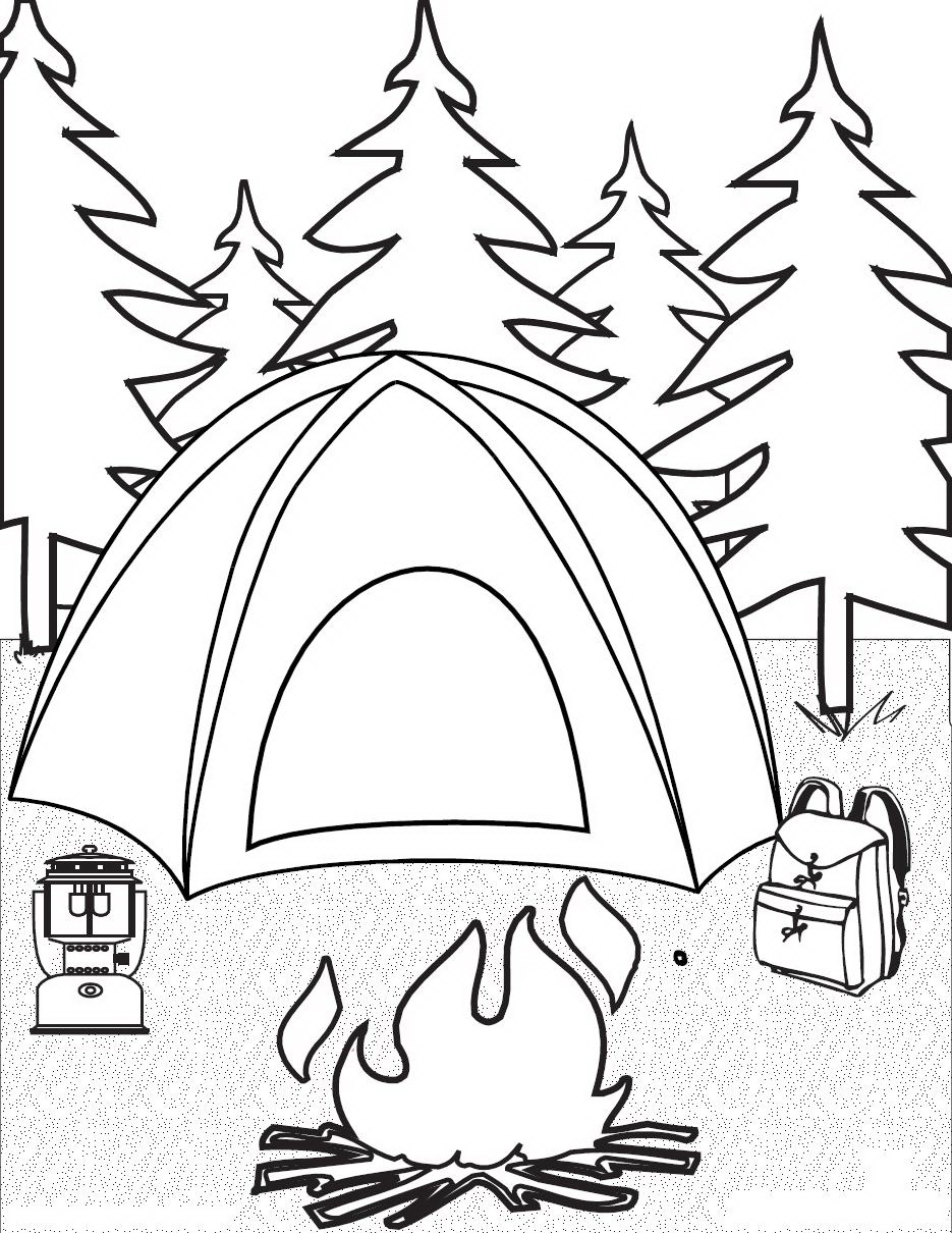 This is a photo of Transformative Free Printable Camping Coloring Pages
