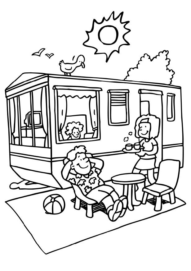 Camping Coloring Pages for childrens printable for free
