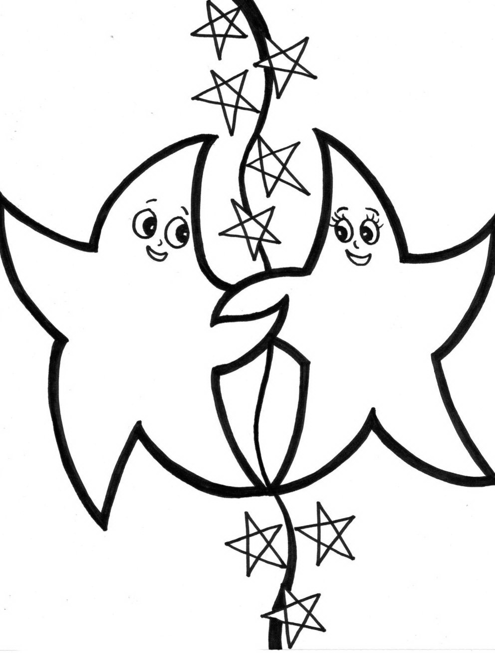 Star Coloring Pages for childrens printable for free