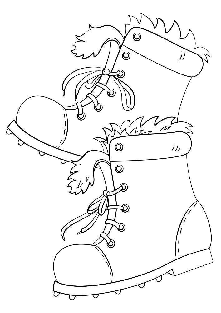 Winter clothes coloring pages to
