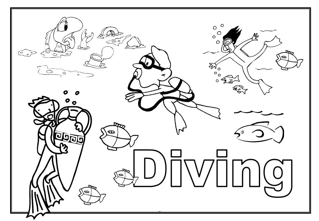 Coloring: Diving Coloring Pages For Childrens Printable For Free