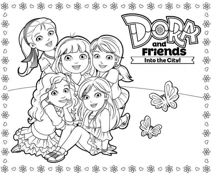 Dora and friends into the city coloring pages