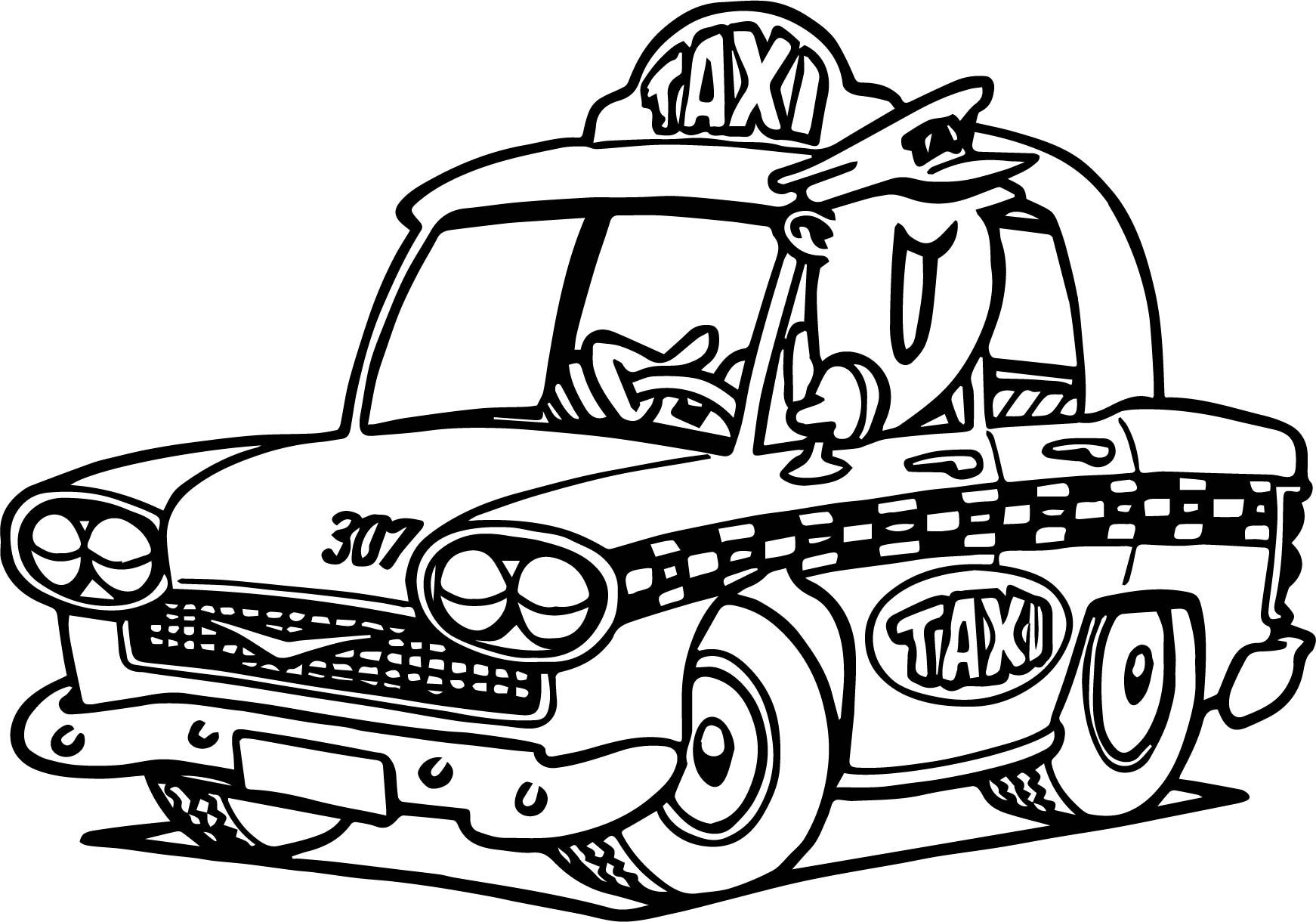 Taxi coloring pages to download