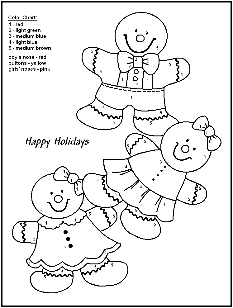 Christmas coloring by number pages ~ Christmas Color By Numbers to download and print for free