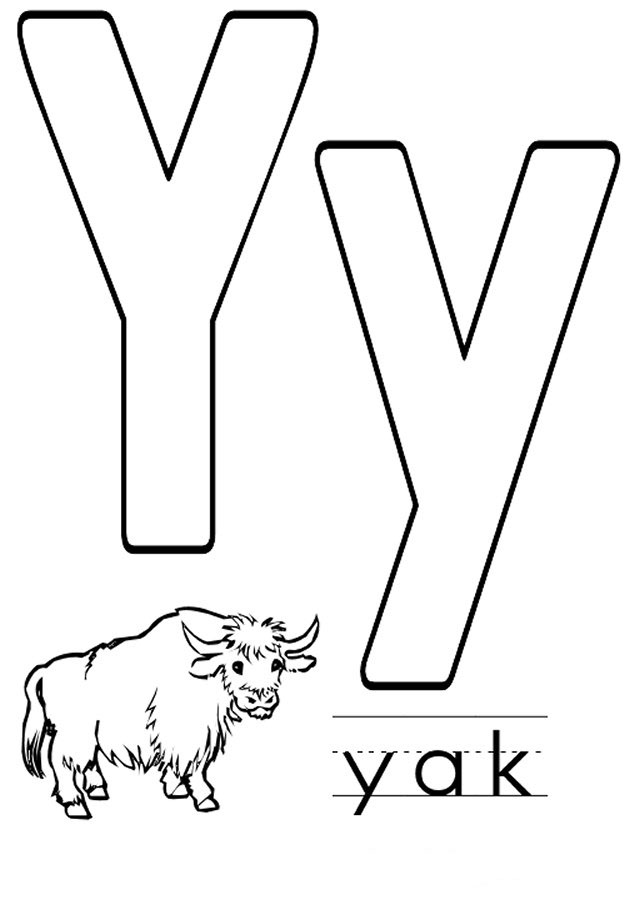 Letter Y coloring pages to download and print for freeY Coloring Page