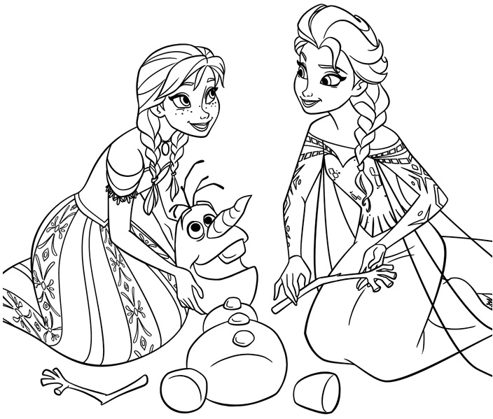 Elsa and Anna coloring pages to