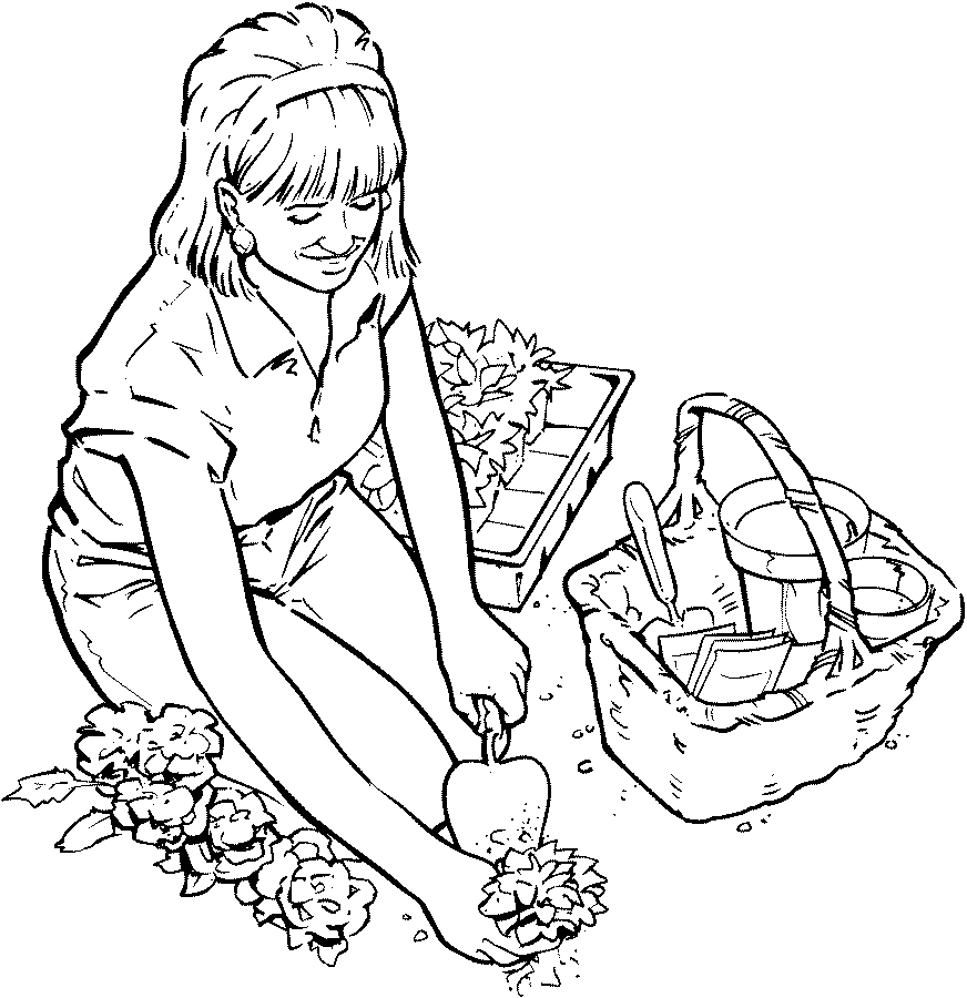 Gardening coloring pages to download