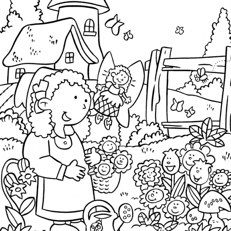 Colouring Pictures Of Flower Gardens Drawing Garden Coloring Pages Color Luna