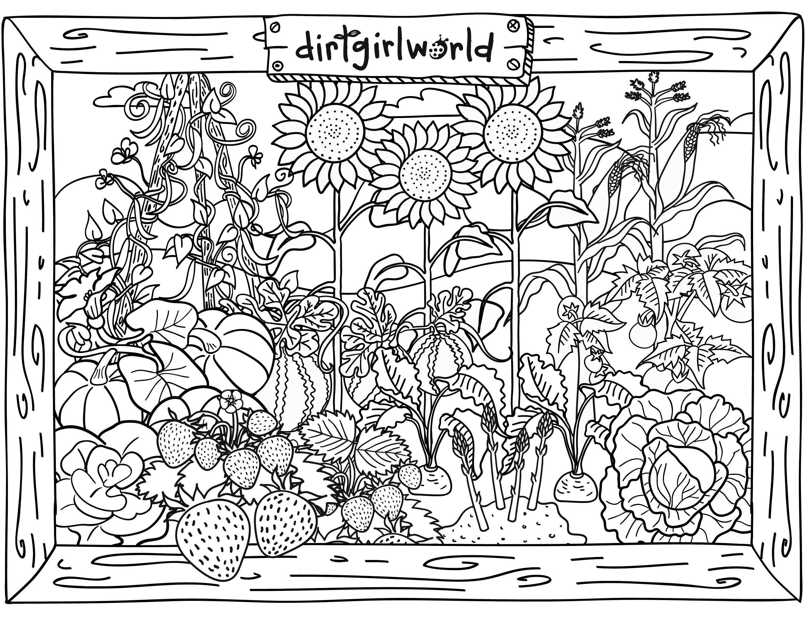 Gardening coloring pages to download and print for free for Garden coloring page