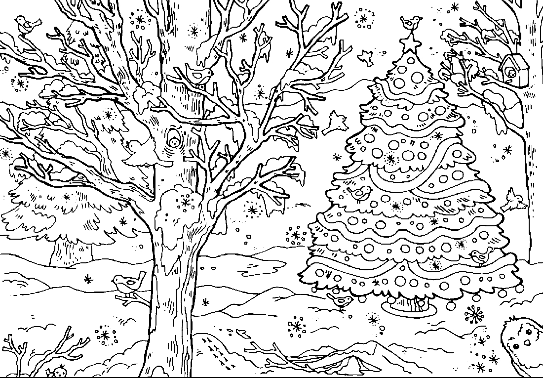Winter forest coloring pages to