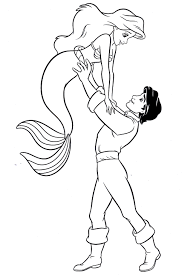 Ariel And Prince Eric Coloring Pages To Download And Print