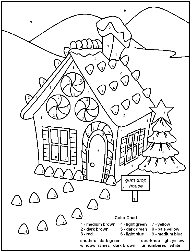 christmas coloring pages by number - photo#18