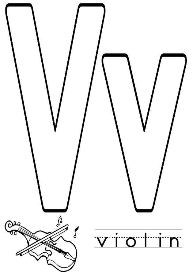 v letter coloring pages - photo #4
