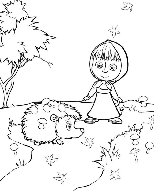 Mascha and bear coloring pages to download and print for free