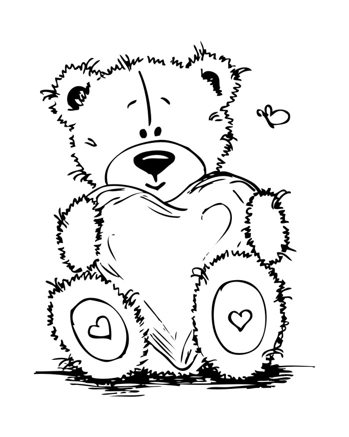 Teddy bear coloring pages for girls