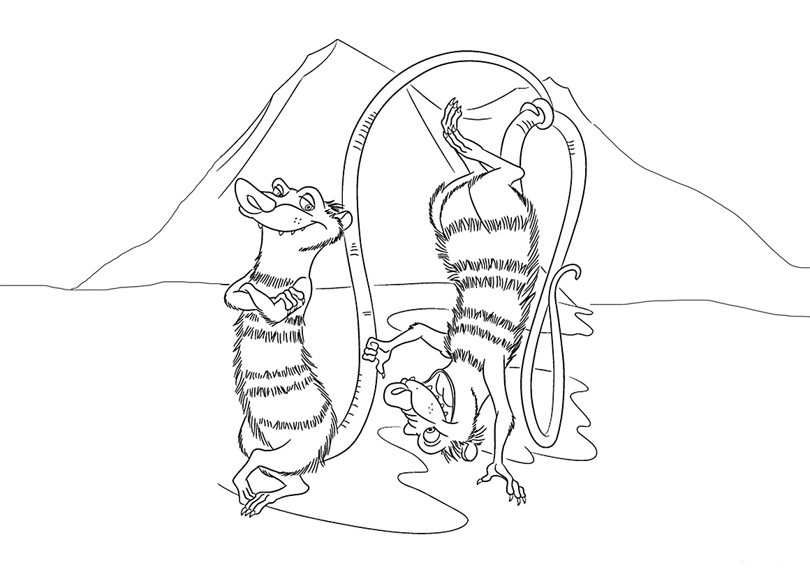 Opossum coloring pages to download and print for free
