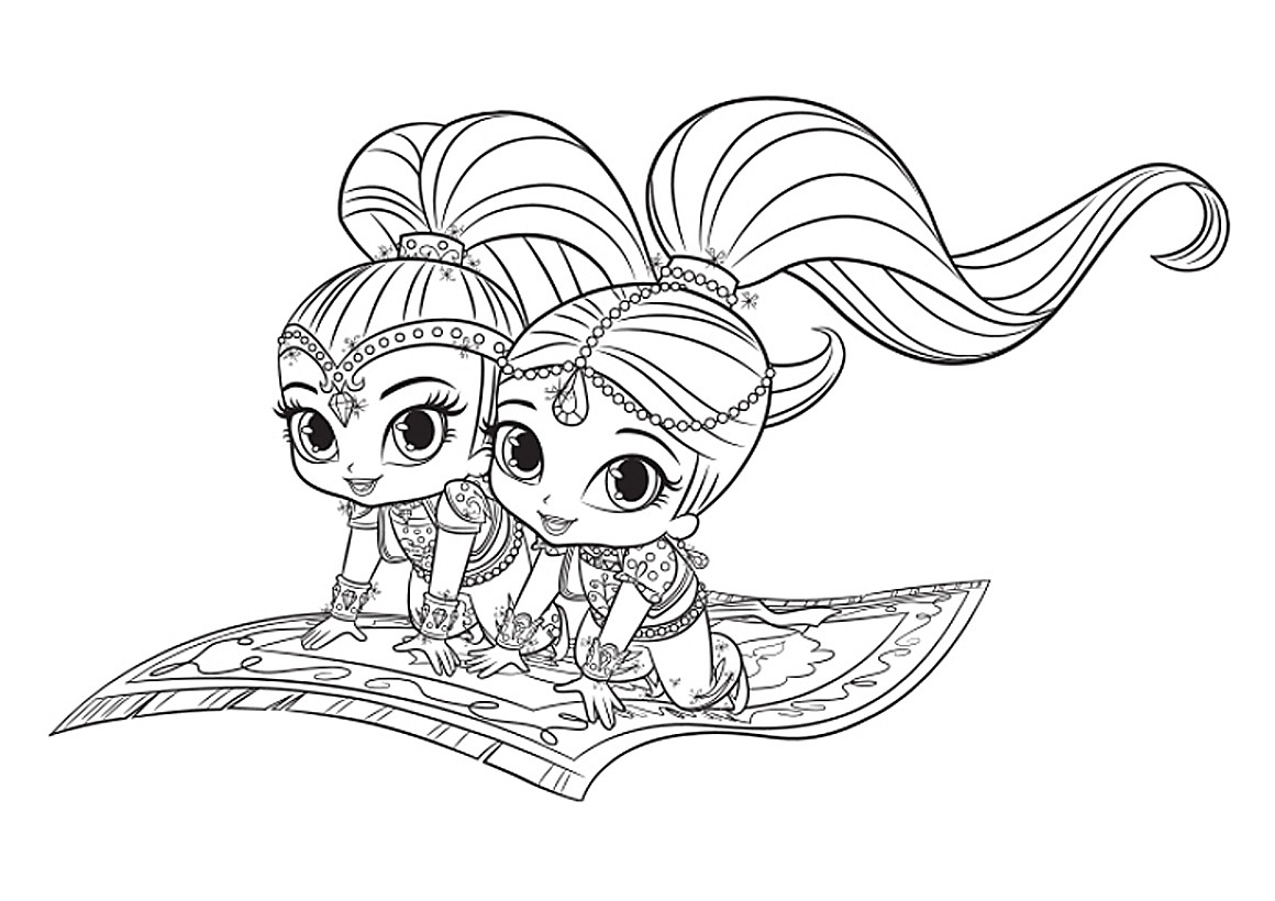 It is a photo of Striking Shimmer Shine Coloring Pages