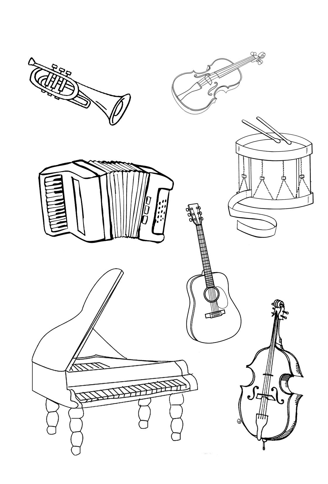 percussion instruments coloring pages - photo#5