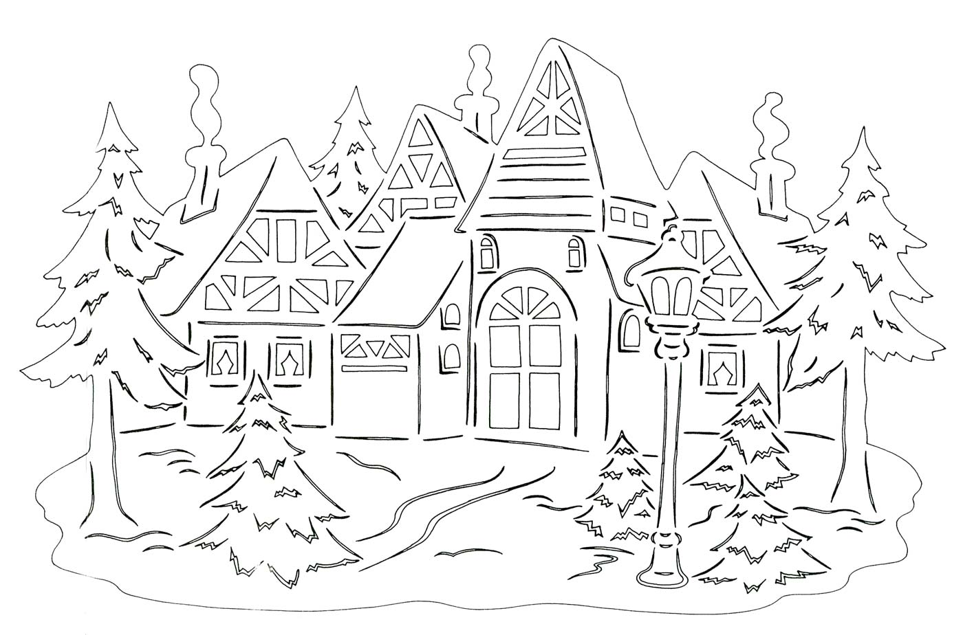winter landscape coloring pages to download and print for free. Black Bedroom Furniture Sets. Home Design Ideas
