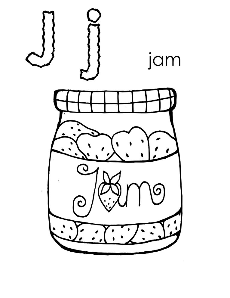 Letter J coloring pages to and print for free