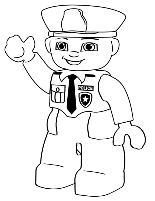 Police coloring page for boys print