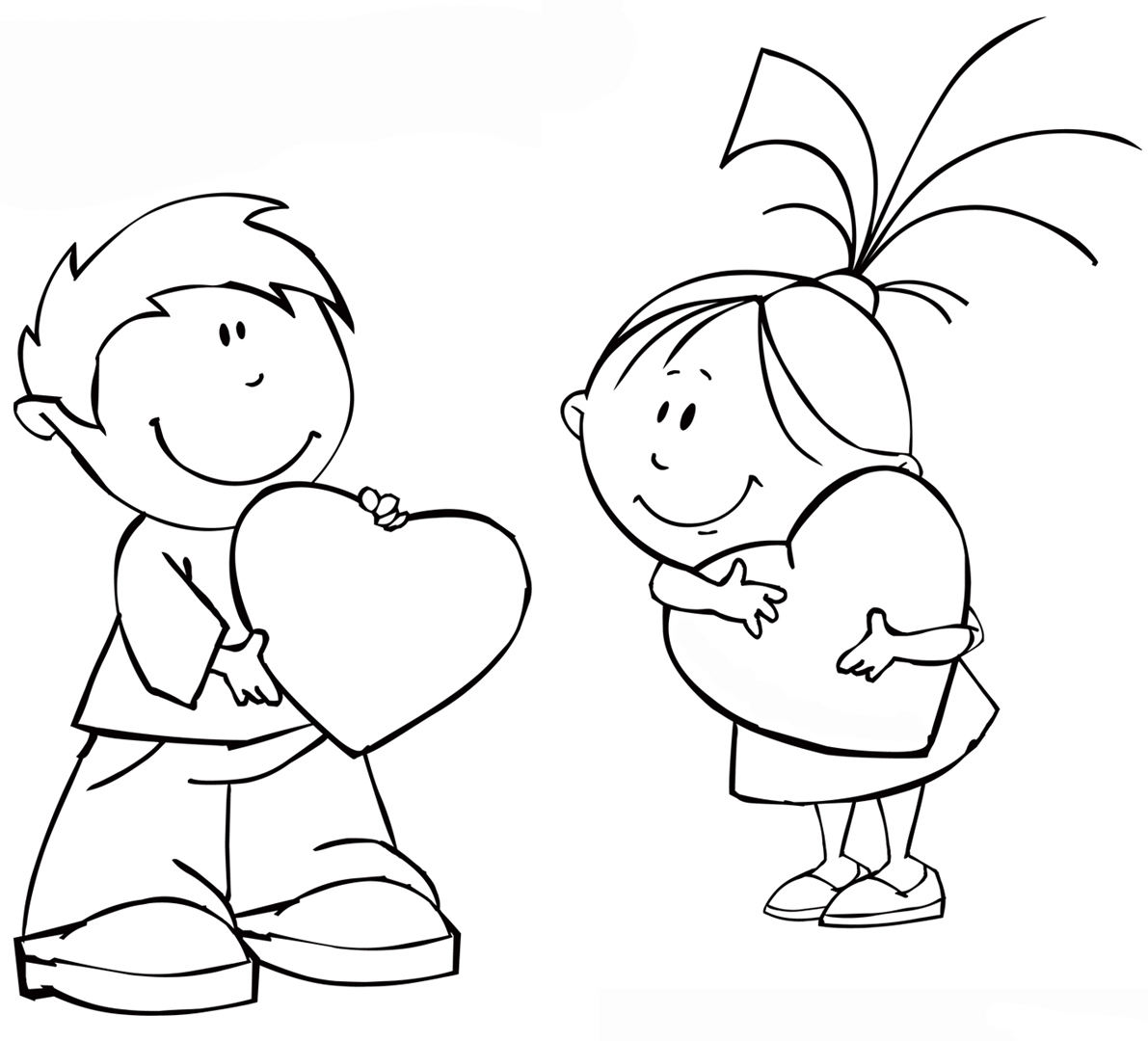 Girl and boy coloring pages to